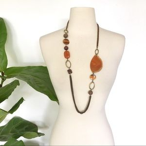 Chico's leather and brass Stone necklace